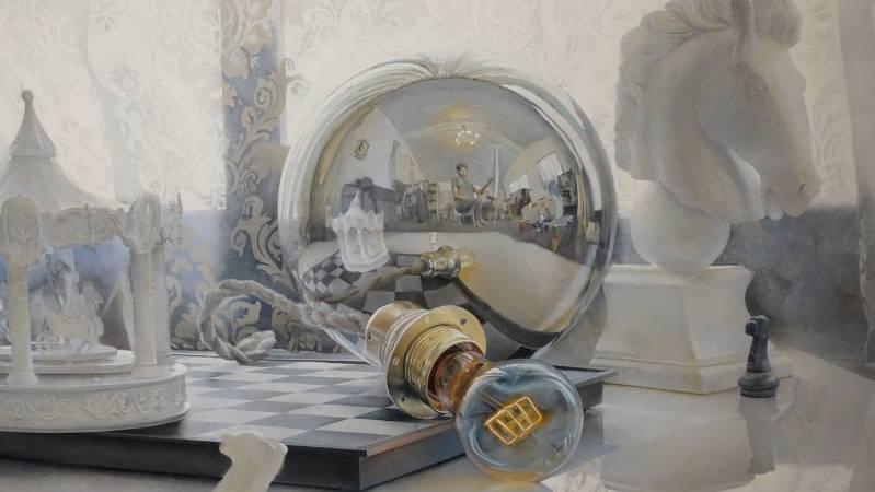 余昇叡,《發光研究(零)回到最初的原點》細部,油彩木板上畫布。圖/非池中藝術網攝。