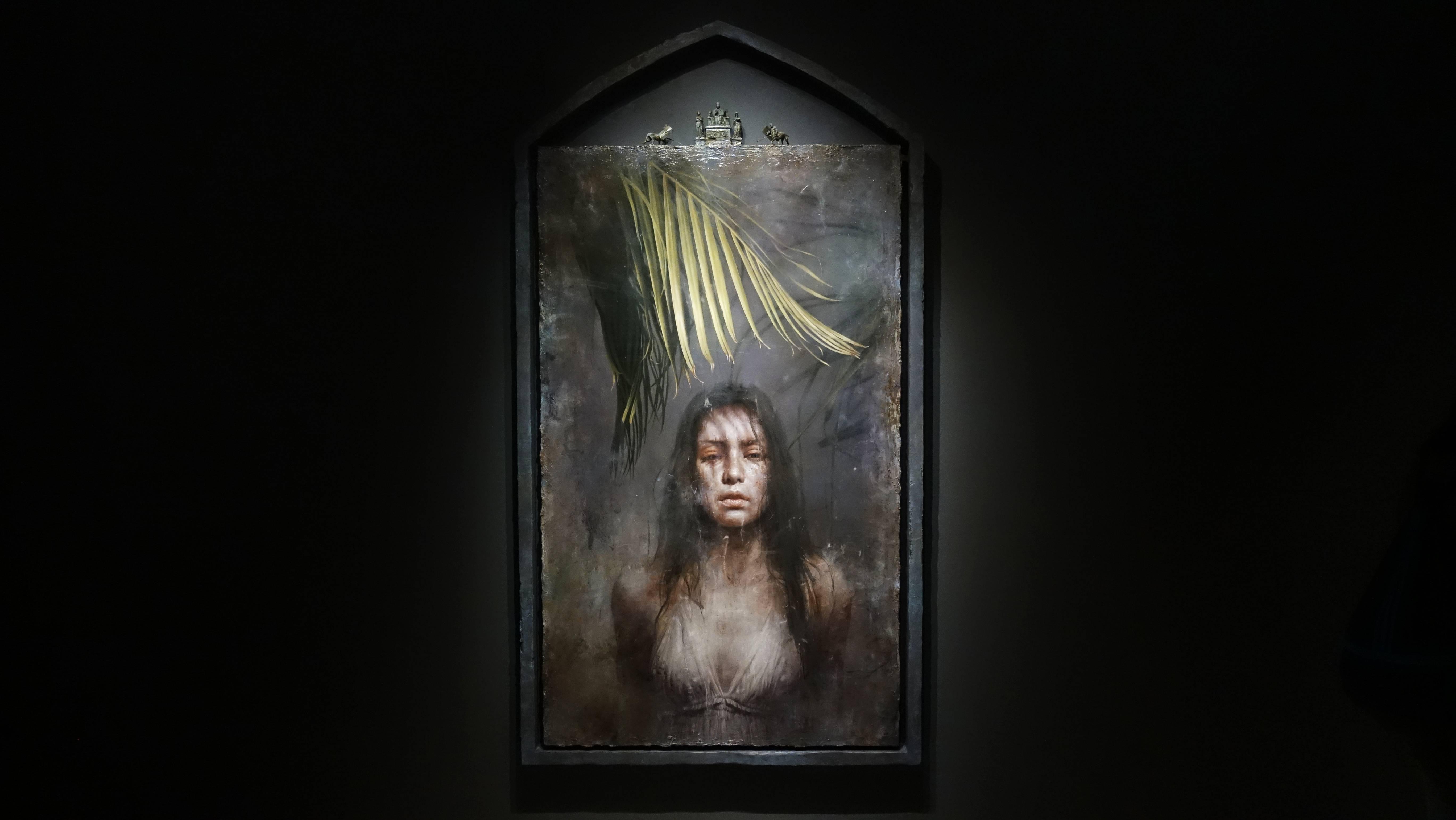 羅展鵬,《靜默的觀察者》,油彩畫布。圖/非池中藝術網攝。