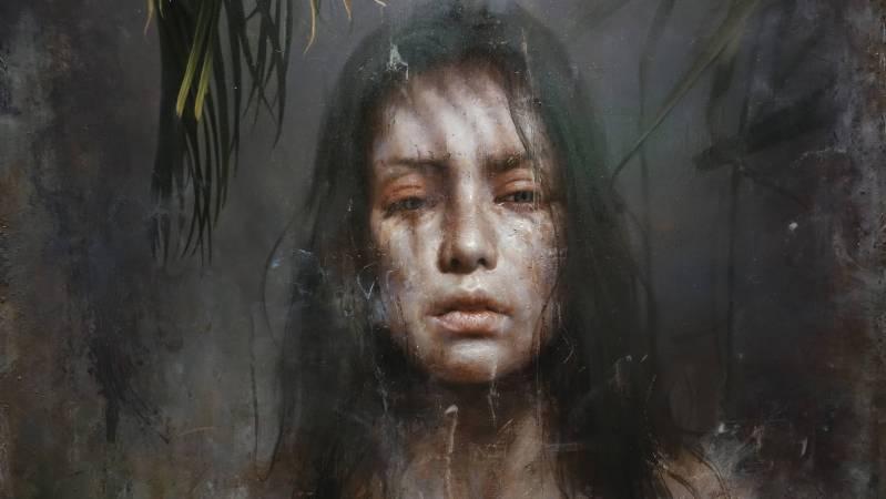 羅展鵬,《靜默的觀察者》細部,油彩畫布。圖/非池中藝術網攝。