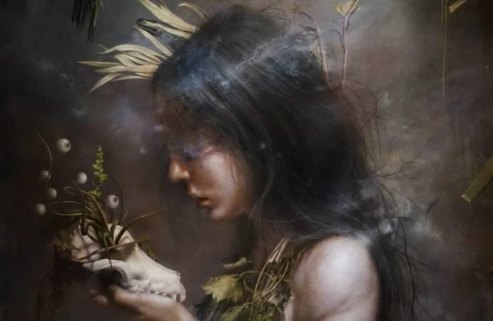 羅展鵬,《鬱鬱蔥蔥的生命》細部,油彩畫布。圖/非池中藝術網攝。