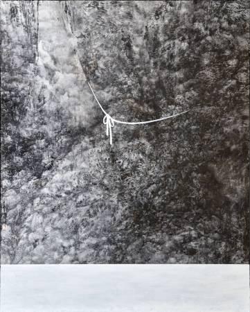繫,162x130cm, 壓克力彩、水墨、Gesso、畫布, 2015