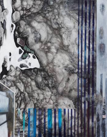 何陋之有,  116x91cm, 壓克力彩、水墨、石膏、樹脂、畫布, 2015
