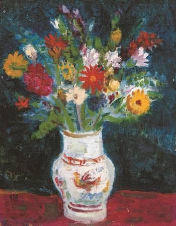 台灣╱廖繼春《瓶花》油彩‧畫板 30×40cm 1956
