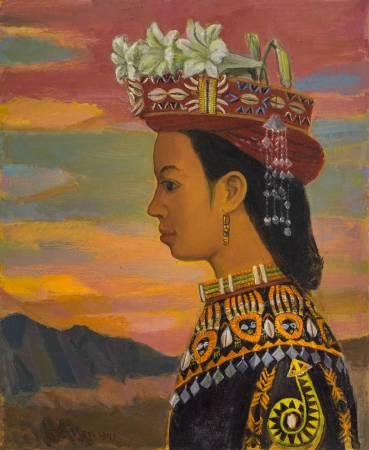 顏水龍 盛裝的山地姑娘 1978 油彩畫布 60.5×50cm