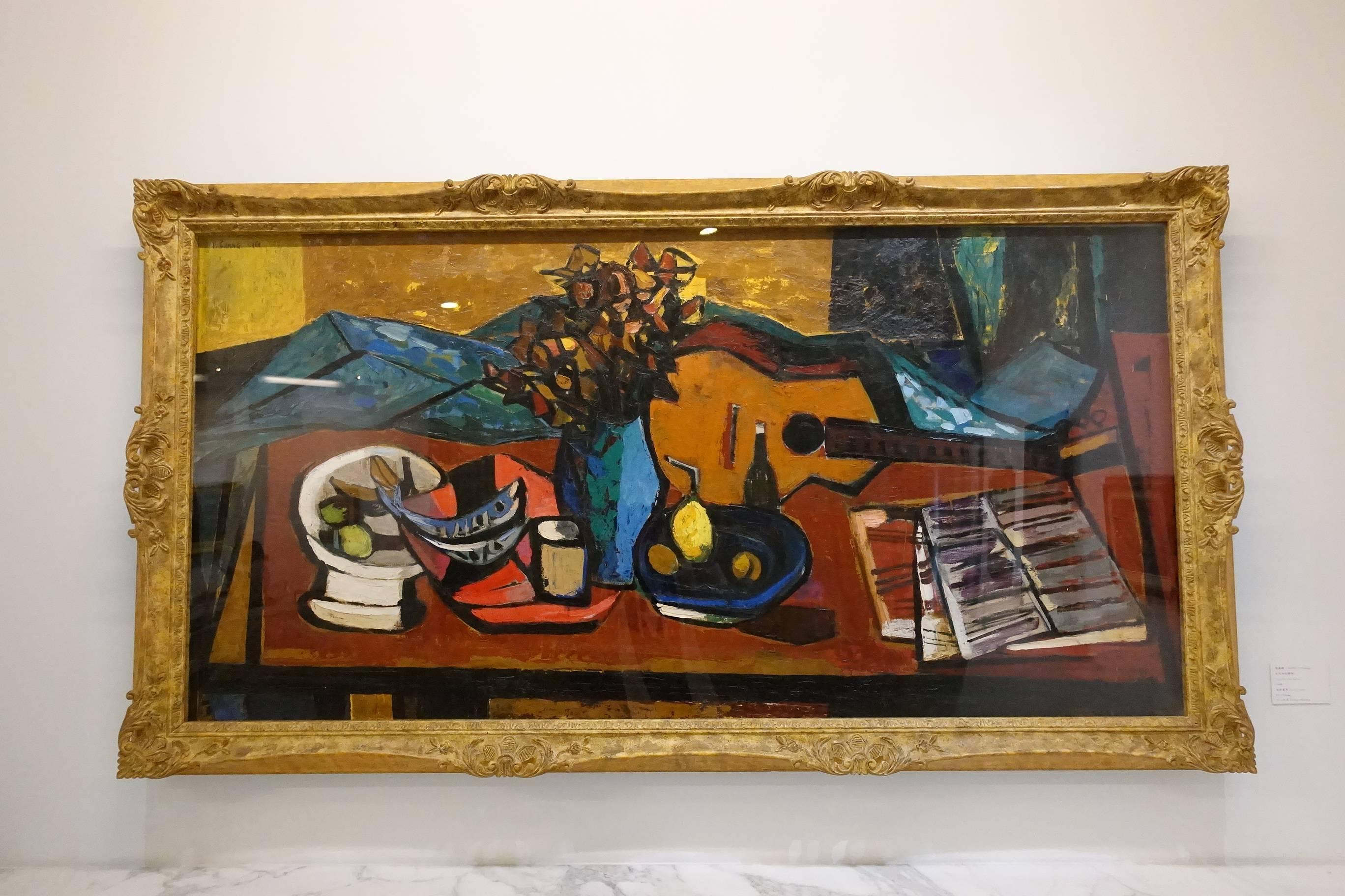 張義雄,《有吉他的靜物》,1960