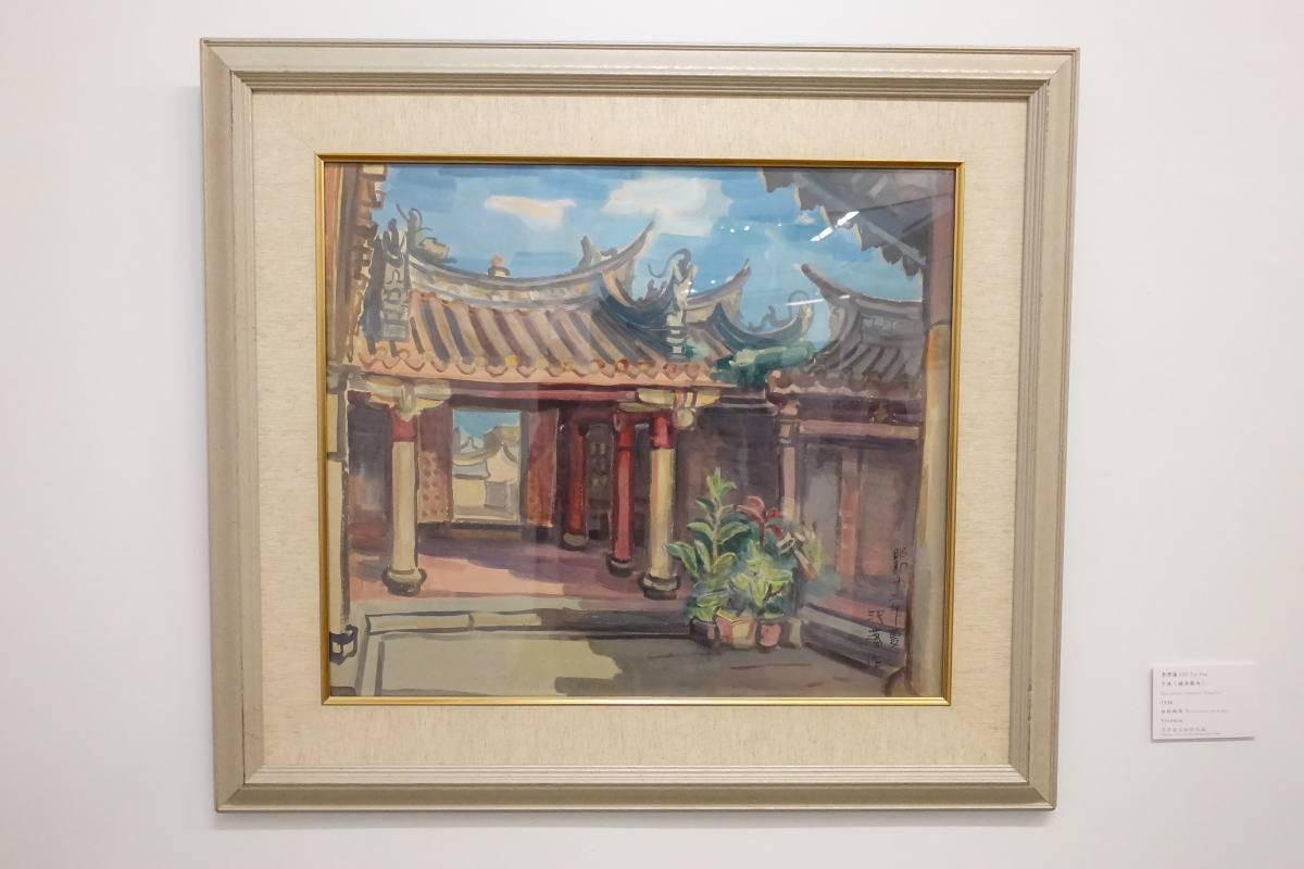李澤藩,《午後(關帝廟內)》,1938