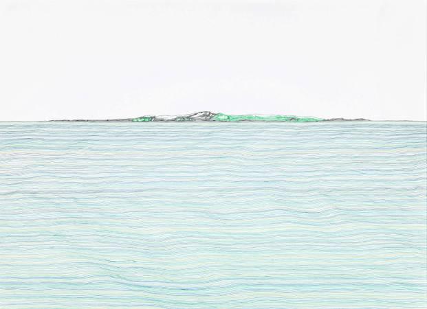 王昱翔,《定位系列-22°09'57.98''N,120°40'52.62''E》, 2017年, 112x80cm, 原子筆.銀色電鍍木框.壓克力板.紙