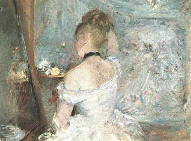 莫里索《盛裝打扮的女子》,1875。圖/取自Wikipedia。