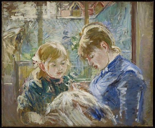 愛德華·馬內《The Artists` Daughter Julie With Her Nanny》,1884。圖/取自Wikipedia。