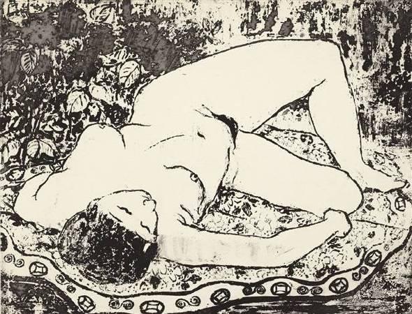 潘玉良,《Femme nue allongée》。圖/取自wikimedia