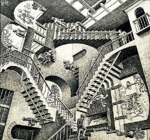 Maurits Cornelis Escher,《Relativity》。Sharon Mollerus攝影。圖/取自flickr