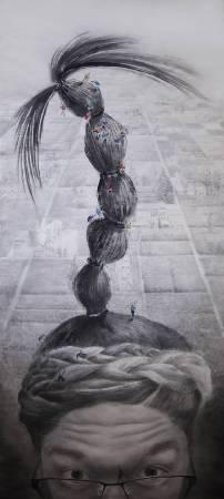 徐嘉霠Hsu, Jia Yin - 理不清的心緒 ( 2017  水墨 宣紙  215x95cm ) ( 心動藝術空間 Art Influence )cm