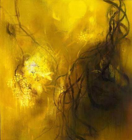 董心如《縫隙中的幽微2011-3 The Glimmer from the Chink 2011-3》,2011,複合媒材,128x135 cm