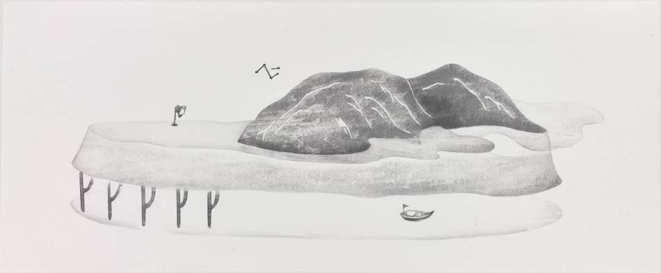 張婷雅《觀上乘下》,2018,水印木刻,32.5x79 cm