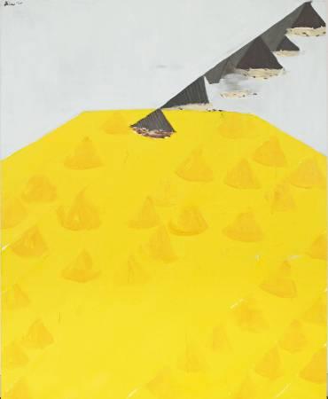 劉永仁 呼吸跫音 162x130cm 油彩、畫布、鉛片、蜂蠟  2009