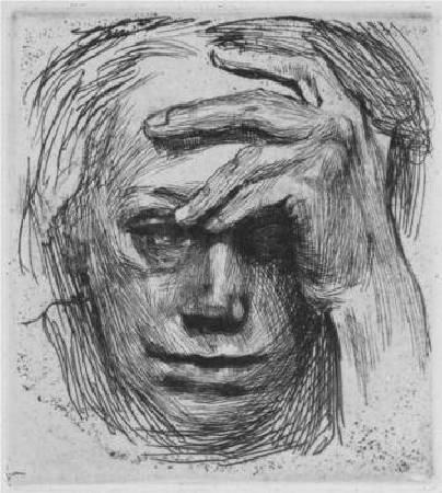 Käthe Kollwitz,《Self-Portrait with Hand on the Forehead》,1910。圖/取自 wikiart。