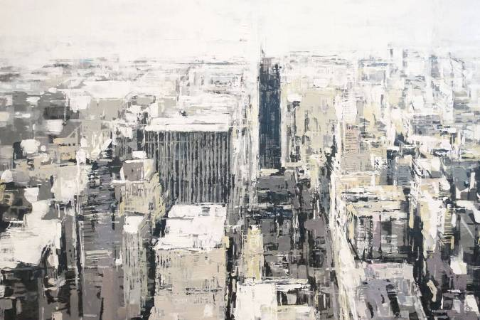 蕭慶知,〈城市印象.紐約〉,2017,壓克力顏料、畫布,143×177cm。
