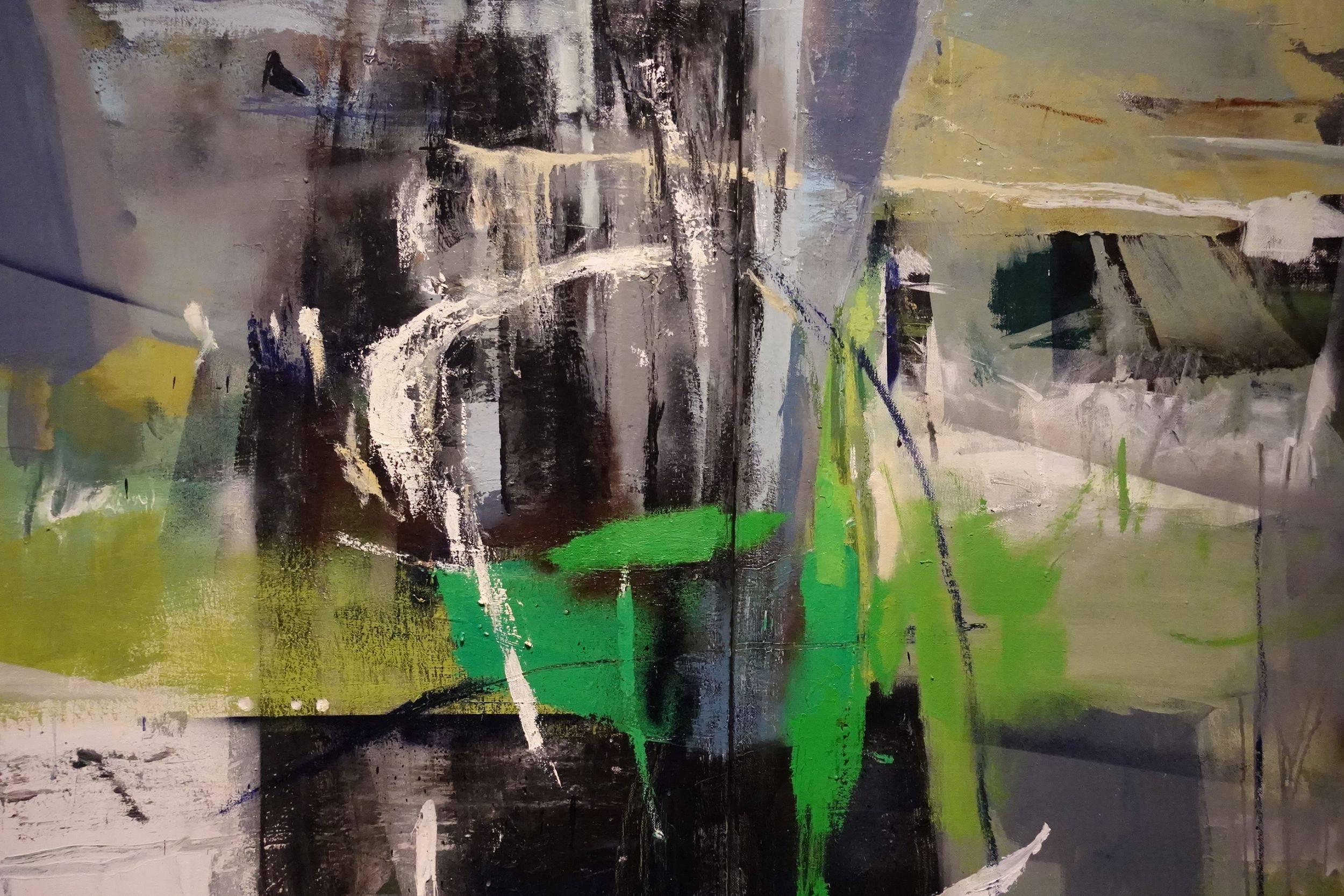 龔煜珊,〈立春〉,2017,油彩、壓克力顏料、複合媒材、畫布,117×182cm。