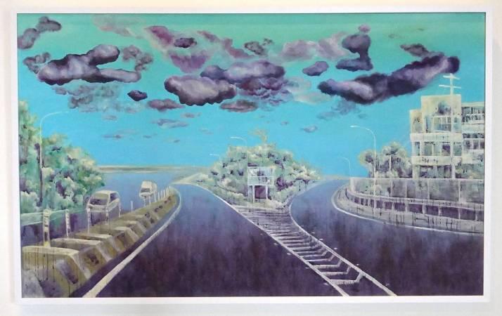盛微庭作品《國道一號南下往彰化》。