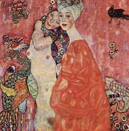 Gustav Klimt,《Girlfriends or Two Women Friends》,1916–17。圖/取自Wikimedia。