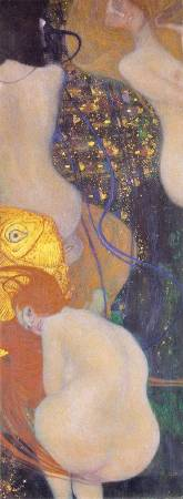 Gustav Klimt,《Gold Fish》(To my critics),1901-1902。圖/取自Wikimedia。