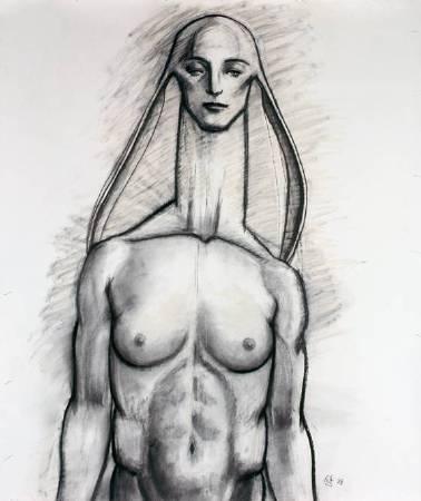 藝術家:舟越桂 標題: DR0901     尺寸: 104.8 * 89 cm 年代:2008 材質:素描/紙