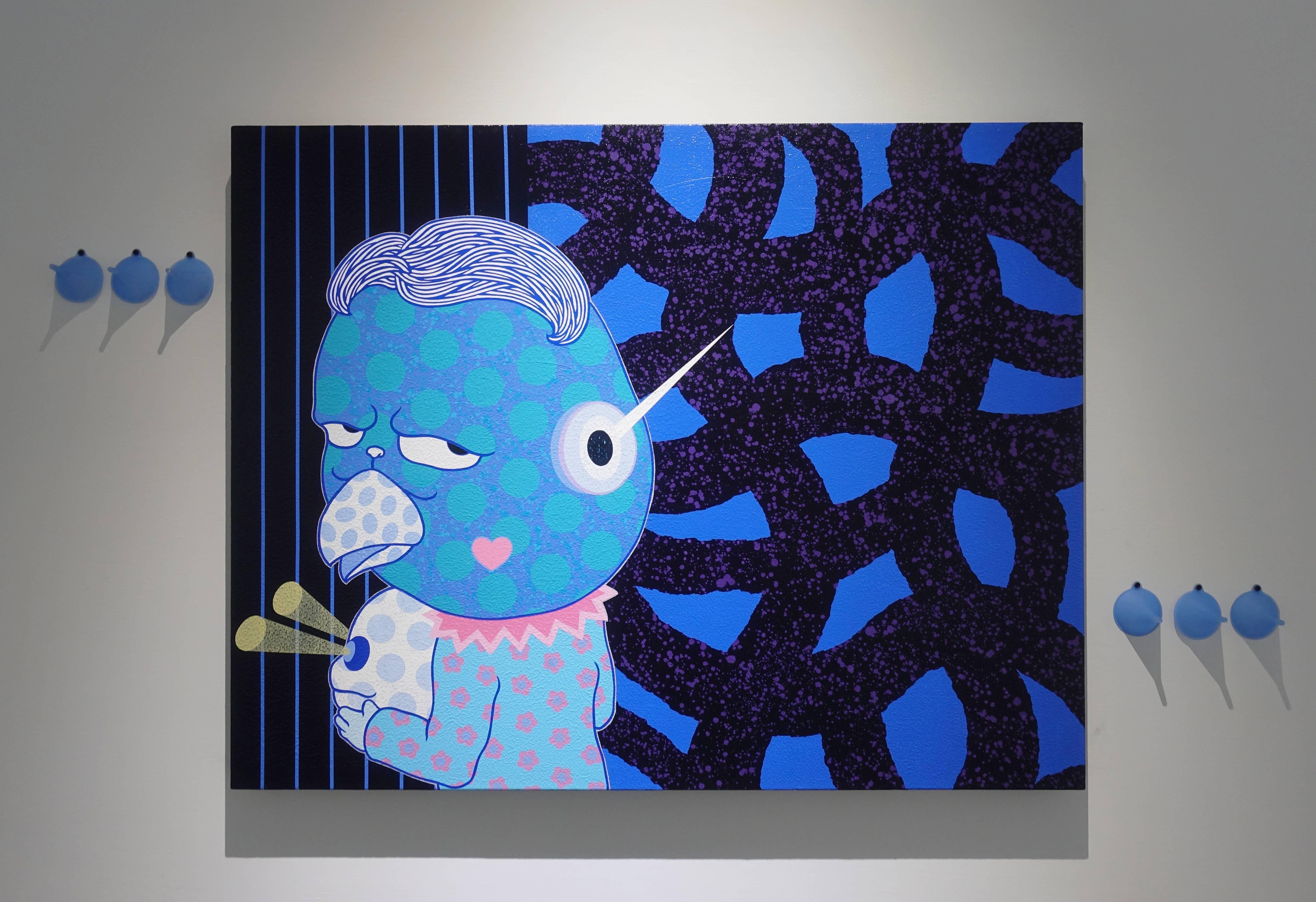 廖堉安,《悶騷人Smoulder》,壓克力、畫布,97x117 cm,2018。