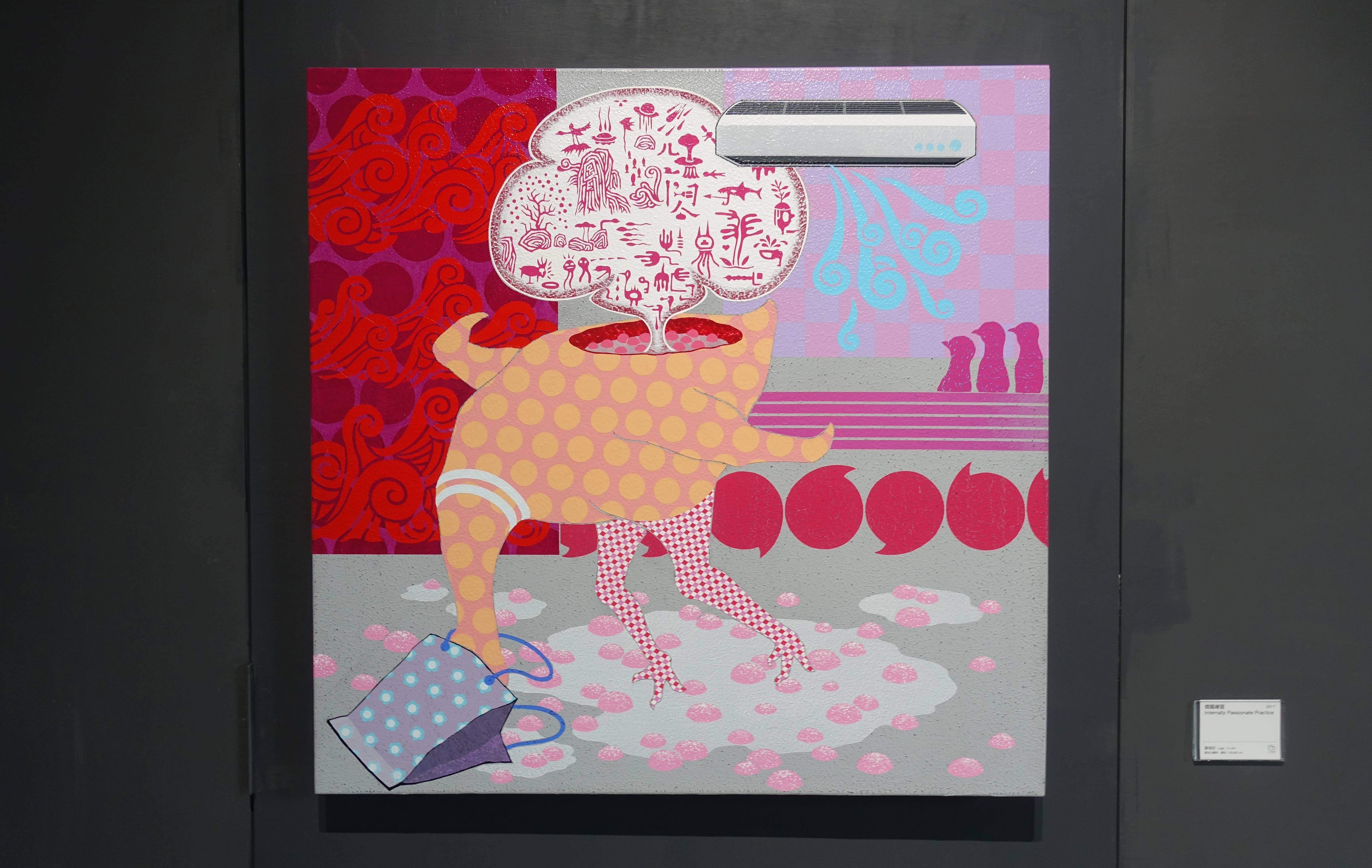 廖堉安,《燜騷練習Internally Passionate Practice》,壓克力、畫布,80x80 cm,2017。