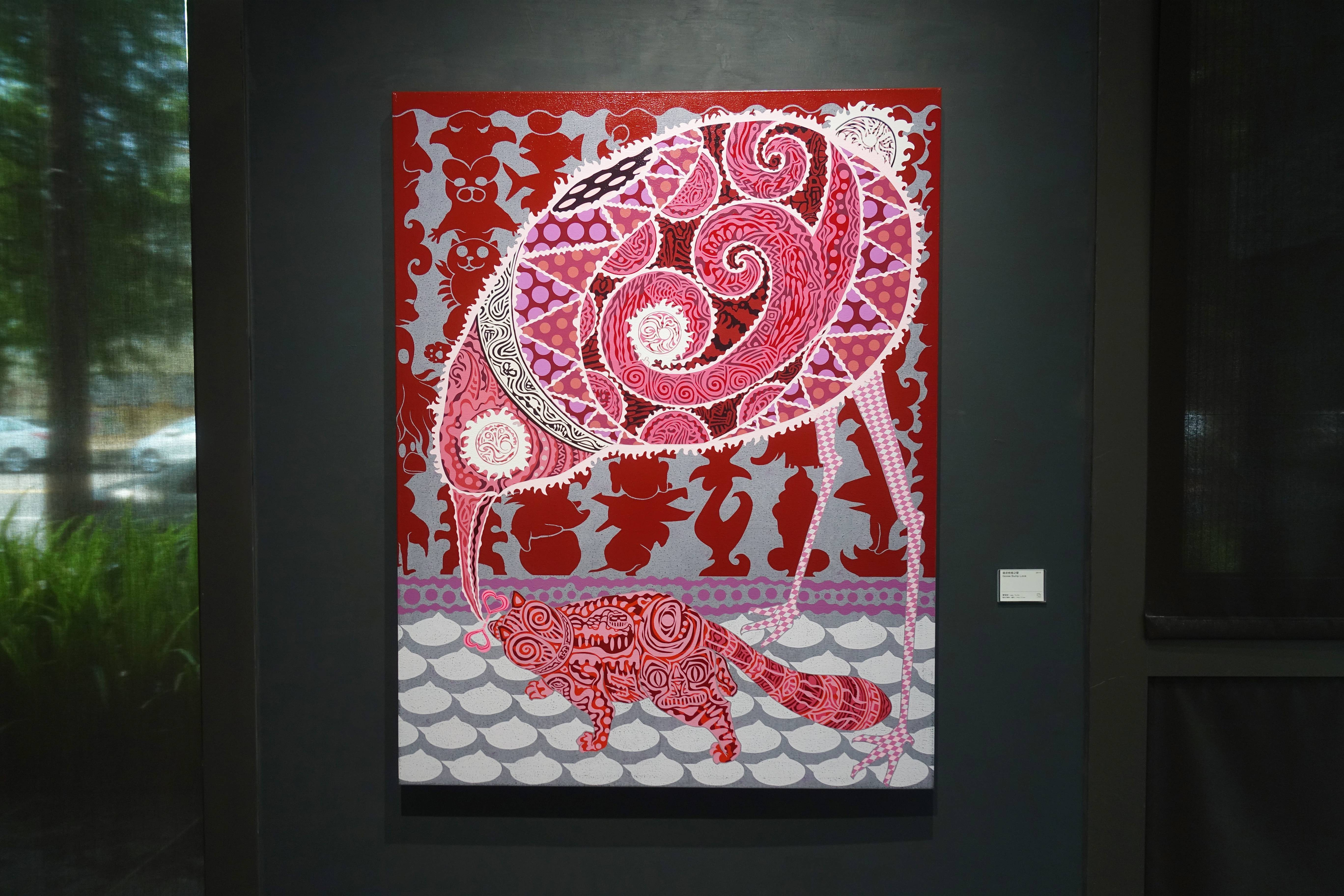 廖堉安,《雞皮疙瘩Goose Bumps Love》,壓克力、畫布,145x112 cm,2015。