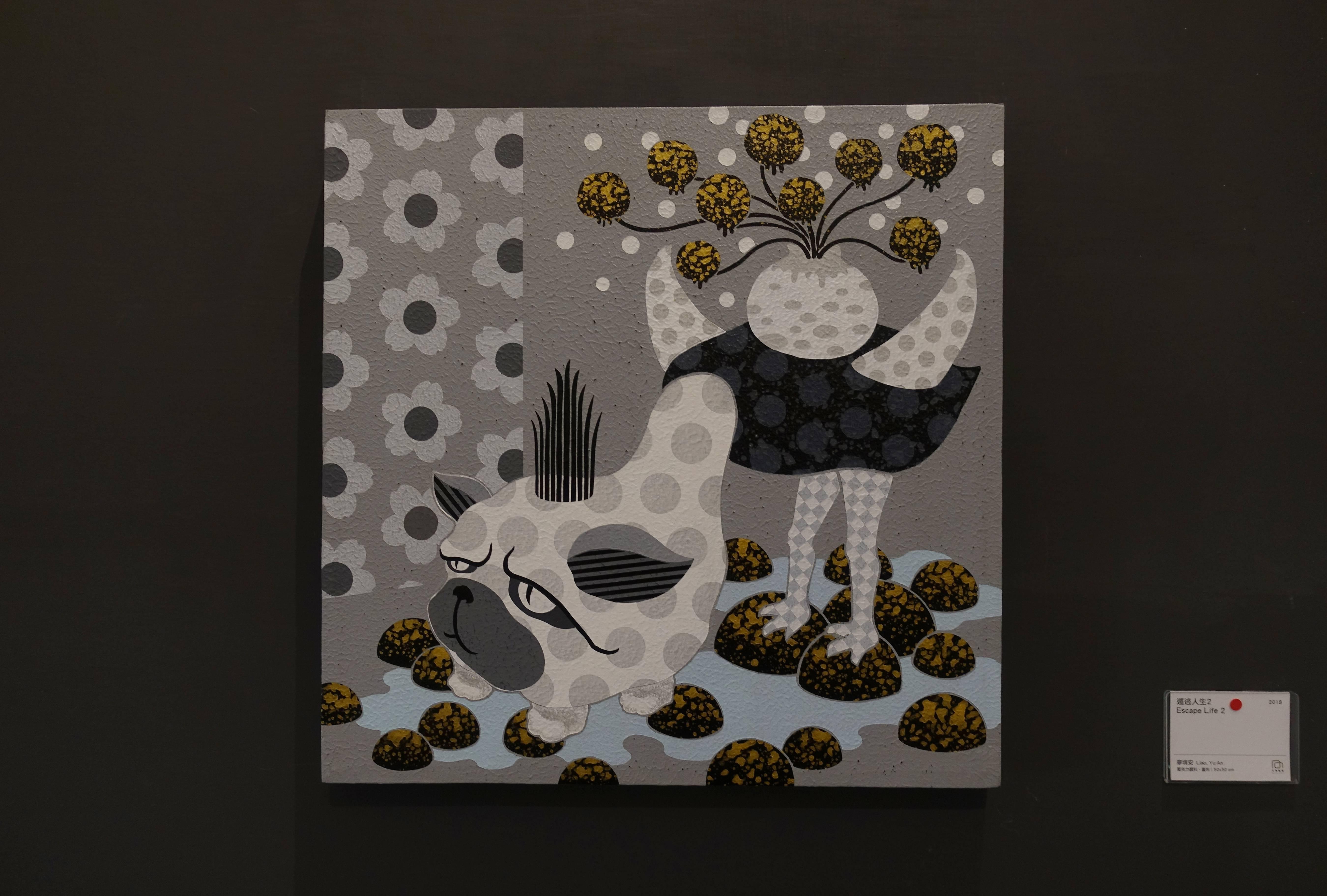 廖堉安,《遁逃人生2Escape Life 2》,壓克力、畫布,50x50 cm,2018。