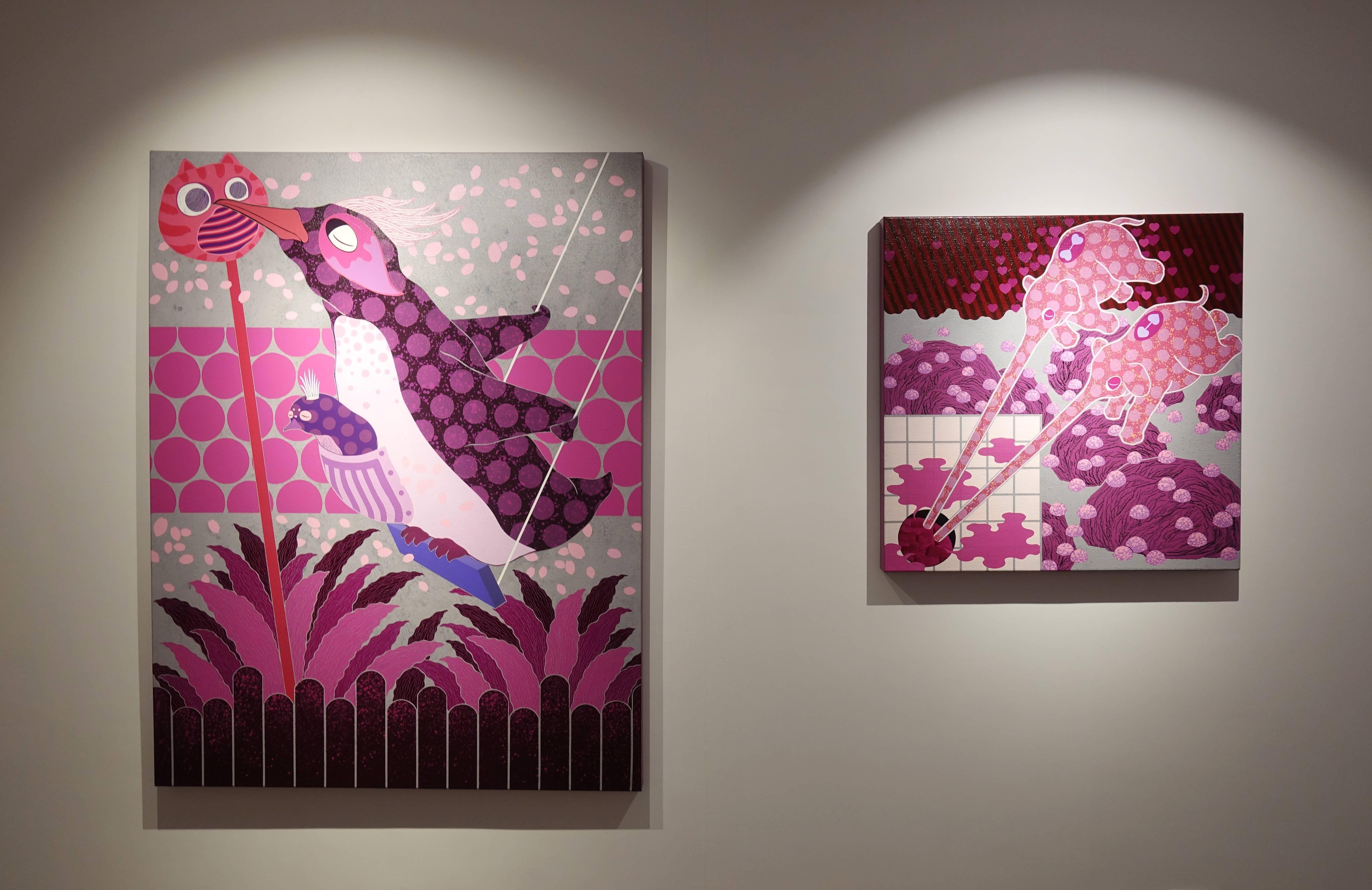 廖堉安,《Kiss練習Kiss Practice》,壓克力、畫布,145x112 cm,2018(左)。廖堉安,《惺惺相吸Freemasonry》,壓克力、畫布,80x80 cm,2018(右)。