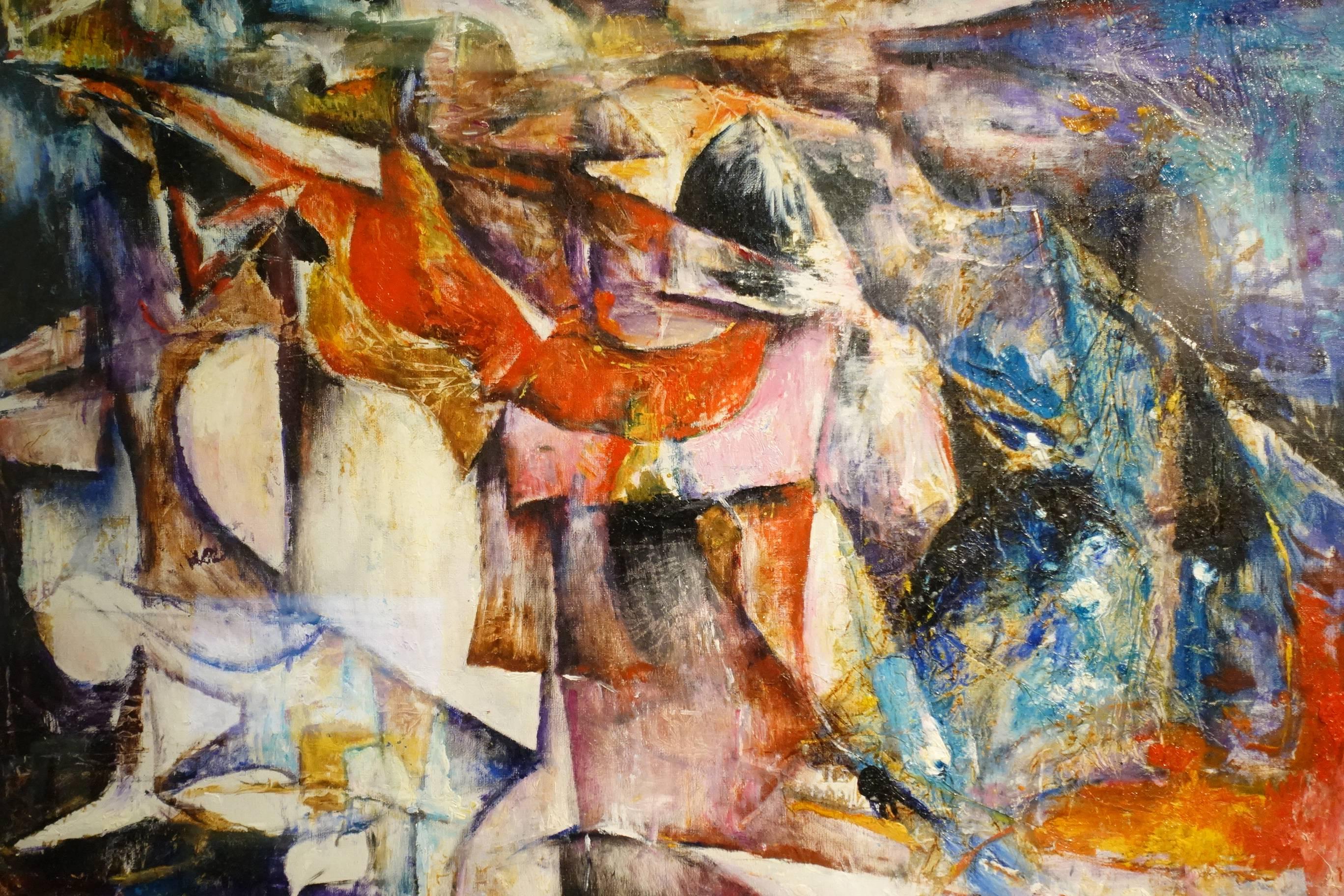 陳家榮,紅色中提琴(局部),油彩、畫布,1993年。