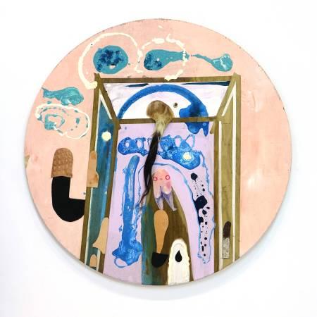 卓卉芹  CHO, Hui-Chin_生命的創始Antecedents of being_壓克力彩、油彩、皮革、木板Acrylic, Oil, leather on wooden board_97.8x97.8 cm diameter (38號)_2017