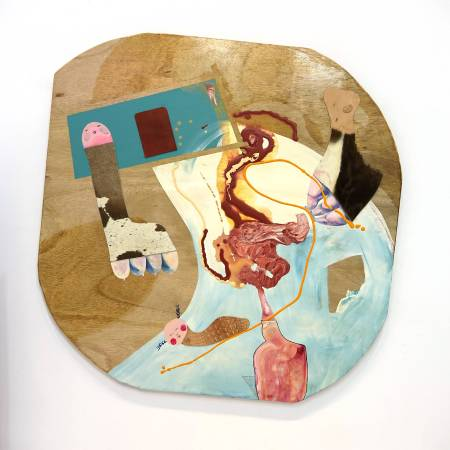 卓卉芹  CHO, Hui-Chin_雄渾的聲音與憂鬱 A sonorous voice and the blue_壓克力彩、油彩、皮革、木板Acrylic, Oil, leather on wooden board_120.5x115.5 cm (70號)_2017