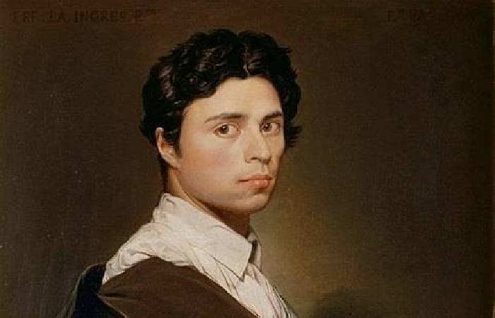 安格尔,《二十四岁的自画像》局部,1804.图/取自wikipedia图片