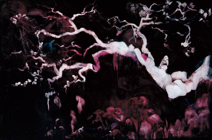 常陵-五花肉系列-肉花鳥-桃林一堣花景圖|2007|油彩|194x130cm