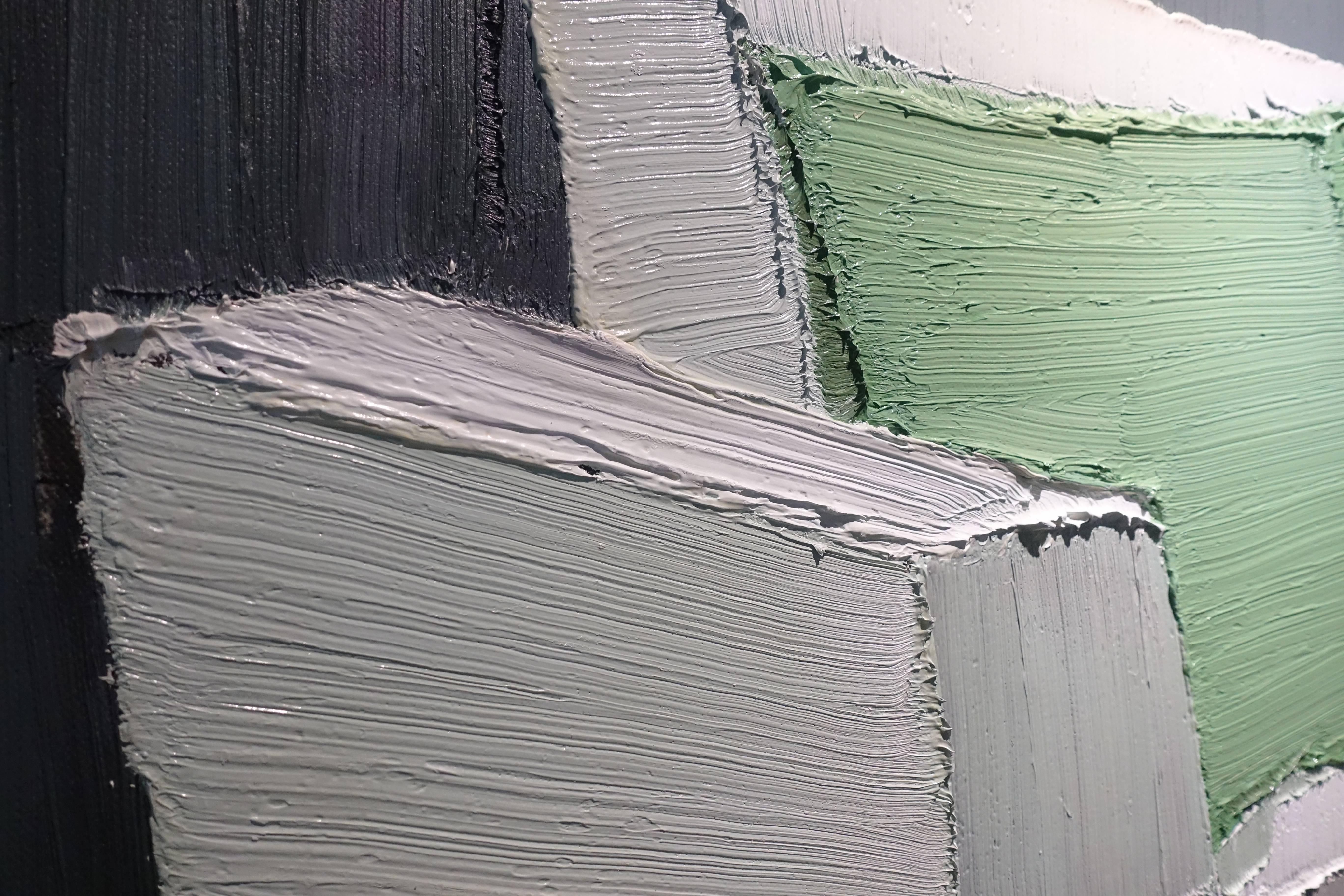 趙新宇,《斜坡》局布,油畫畫布。