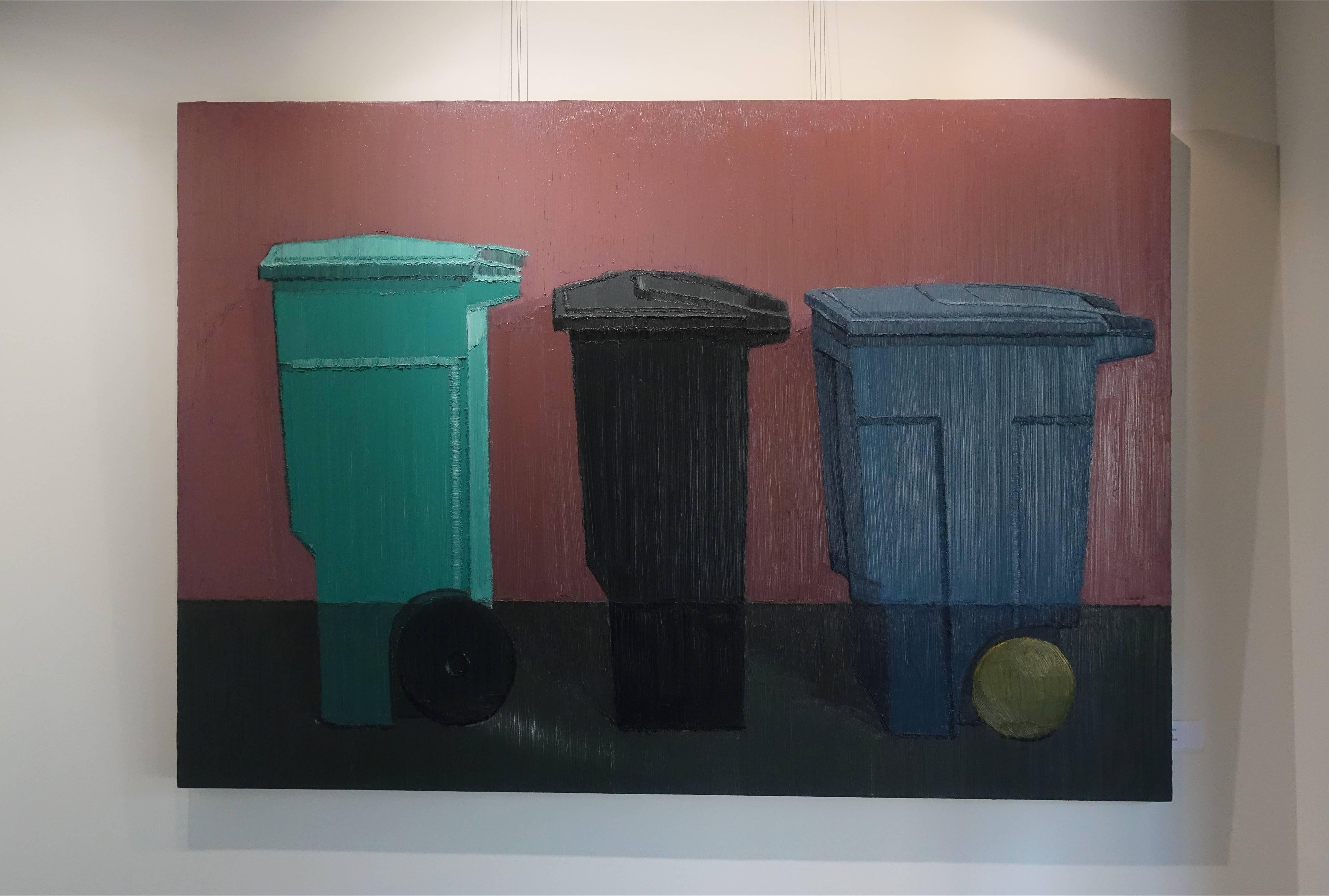 趙新宇,《找齊》,油畫畫布。