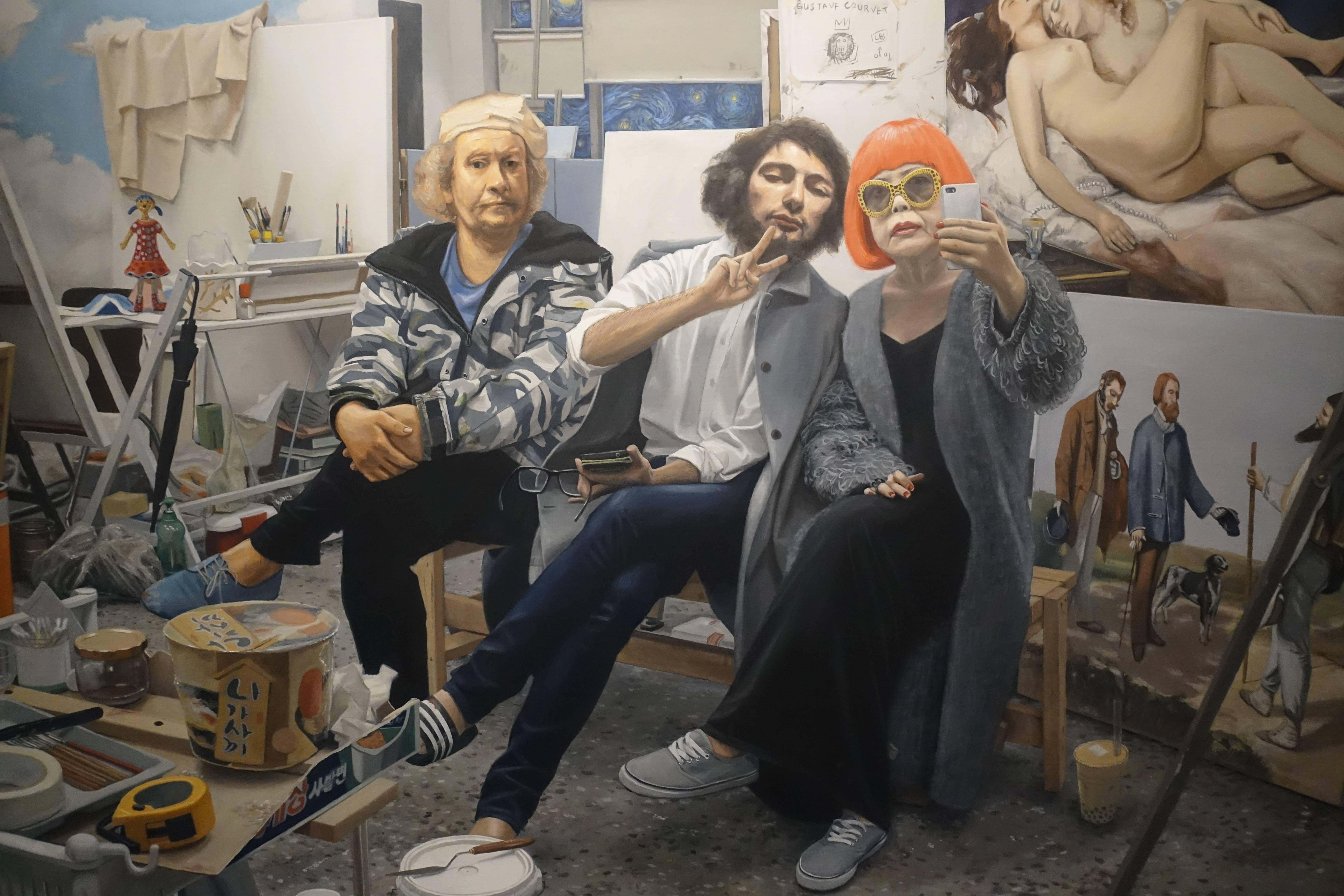 權能 Kwon Neung,《self camera》局部,油畫畫布。