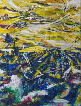 王淑鈴,吟唱的河流9,壓克力、油彩、畫布,106x82cm,2017-18。
