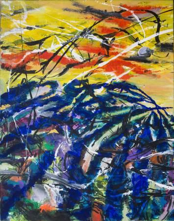 王淑鈴,吟唱的河流10,壓克力、油彩、畫布,106x82cm,2017-18。