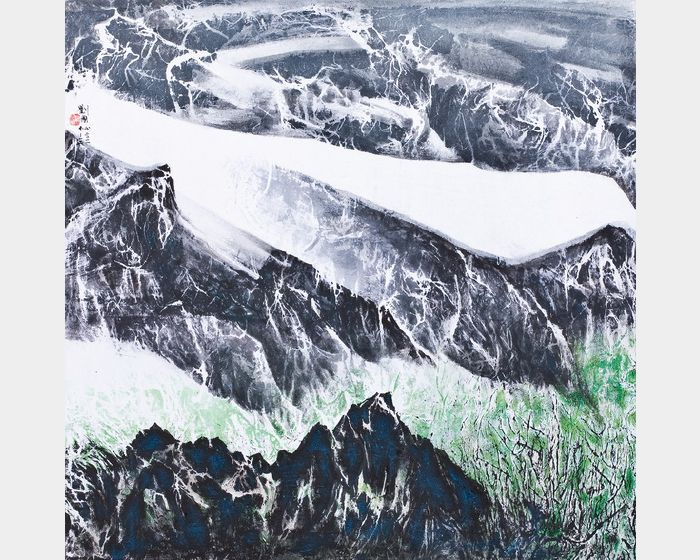 劉國松-西藏組曲雪帽山早春圖