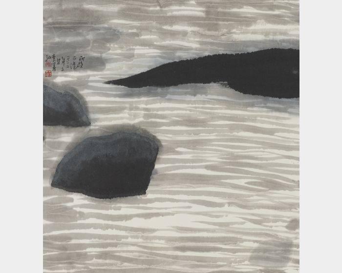 李義弘- 雨後石滬 45x48.5cm