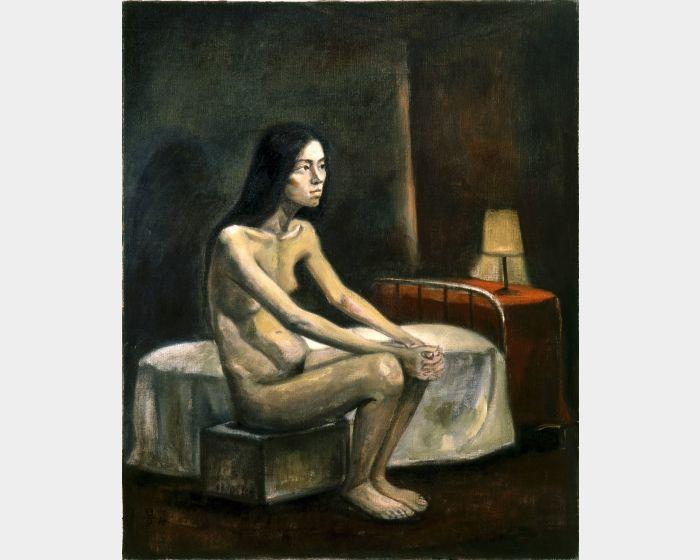 陳景容 -床邊裸女 油彩 15F