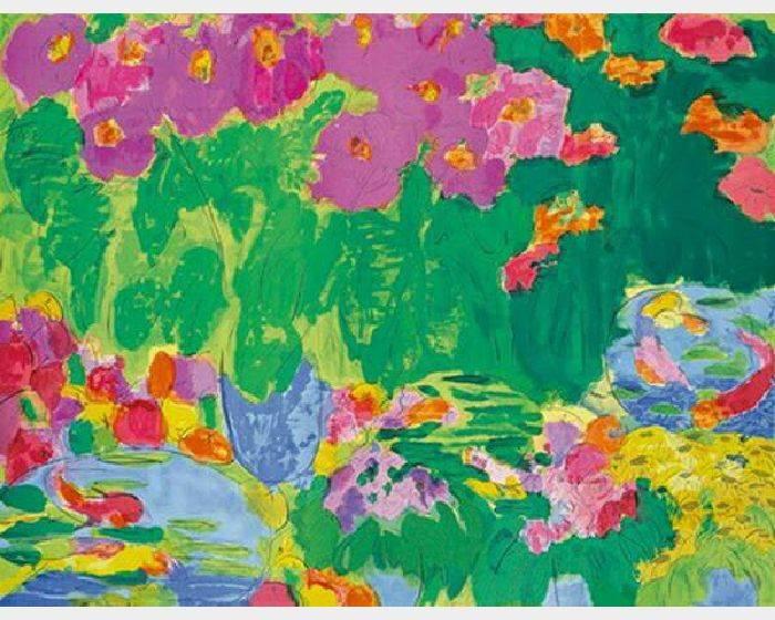 丁雄泉-桃和鮮花