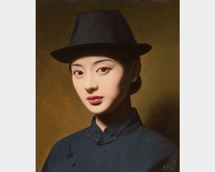 陳承衛-大民國-翠黛 Series on the Republic of China-  A Beautiful Woman in Black