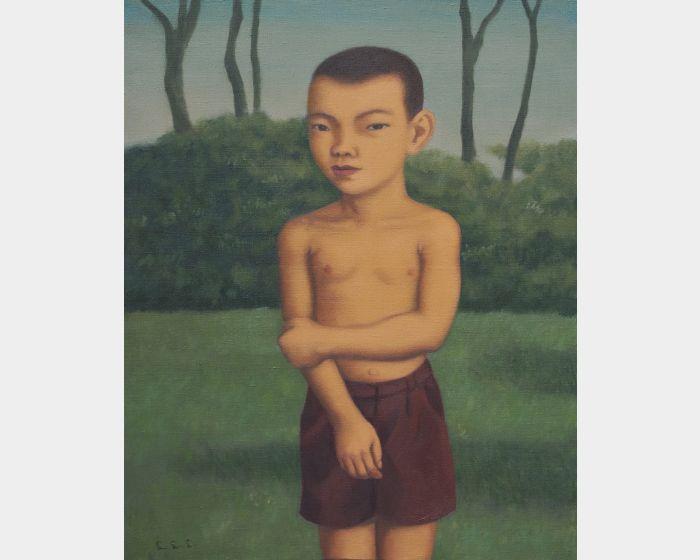 裸上身的小男孩