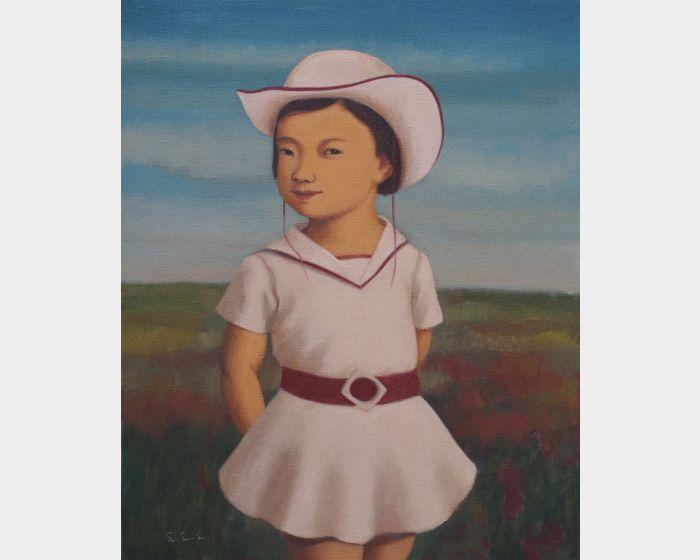 戴白帽子的小女孩