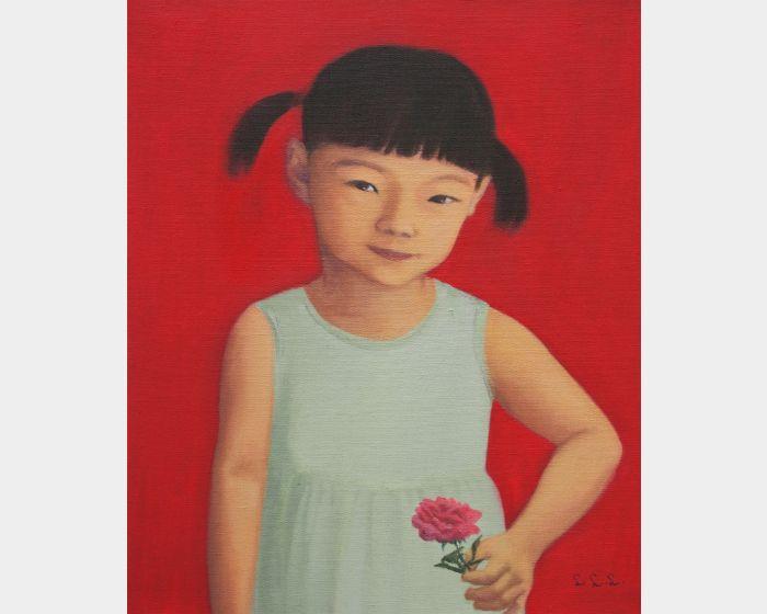拿玫瑰花的小女孩