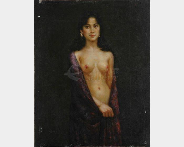 葉錫祚-披暗紅圍巾的全身女人體